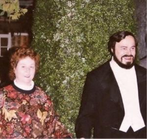 DiVoran and Pavarotti at Madame Tussaud's Wax Museum in London, England