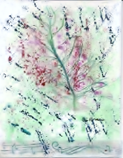 Green and pink paintingpng