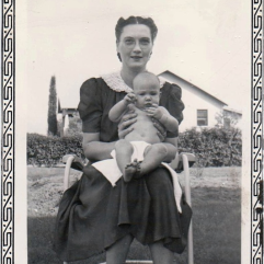 Judy Lites (later Wills) bBeing held by her Mother