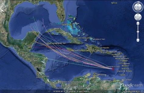 Hurricane Spaghetti Plot
