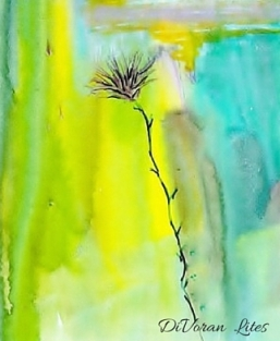 Yellow and Green Thistle signed