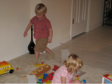 Connor and Hannah with ALL the toys!