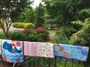 Whale quilt:flowers